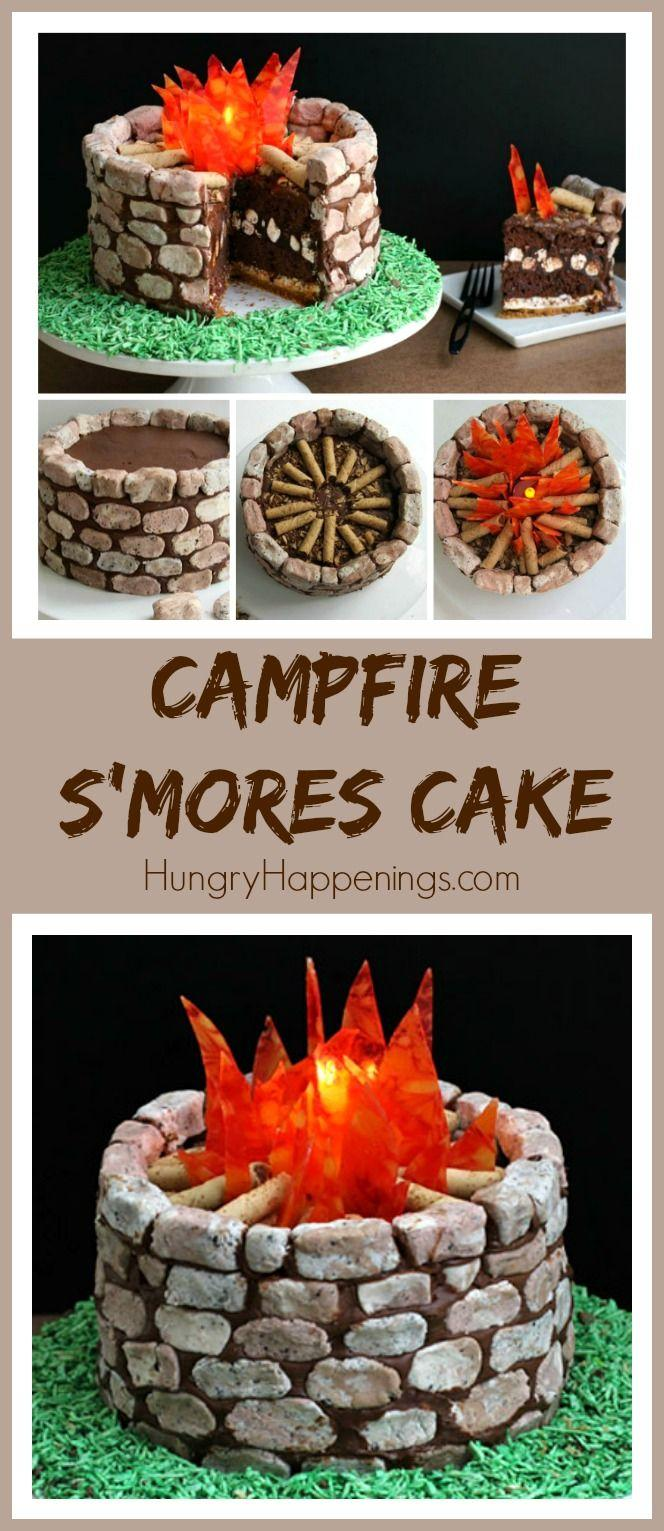 Wedding - Campfire S'mores Cake With Fudge Stones & Candy Flames