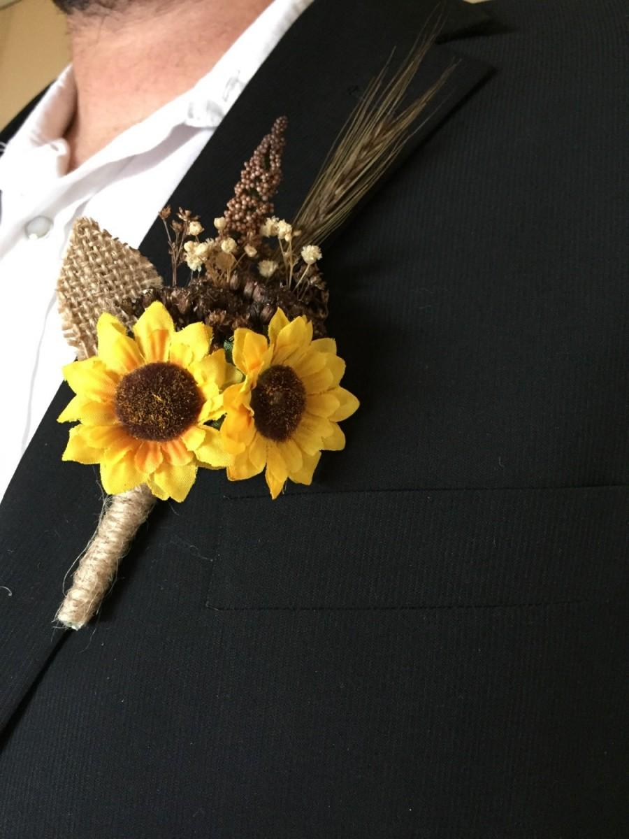 Свадьба - Rustic Sunflower Summer - Fall Wedding Boutonniere or Corsage for Outdoor - Indoor - Country - Farm - Natural - Elegant Wedding