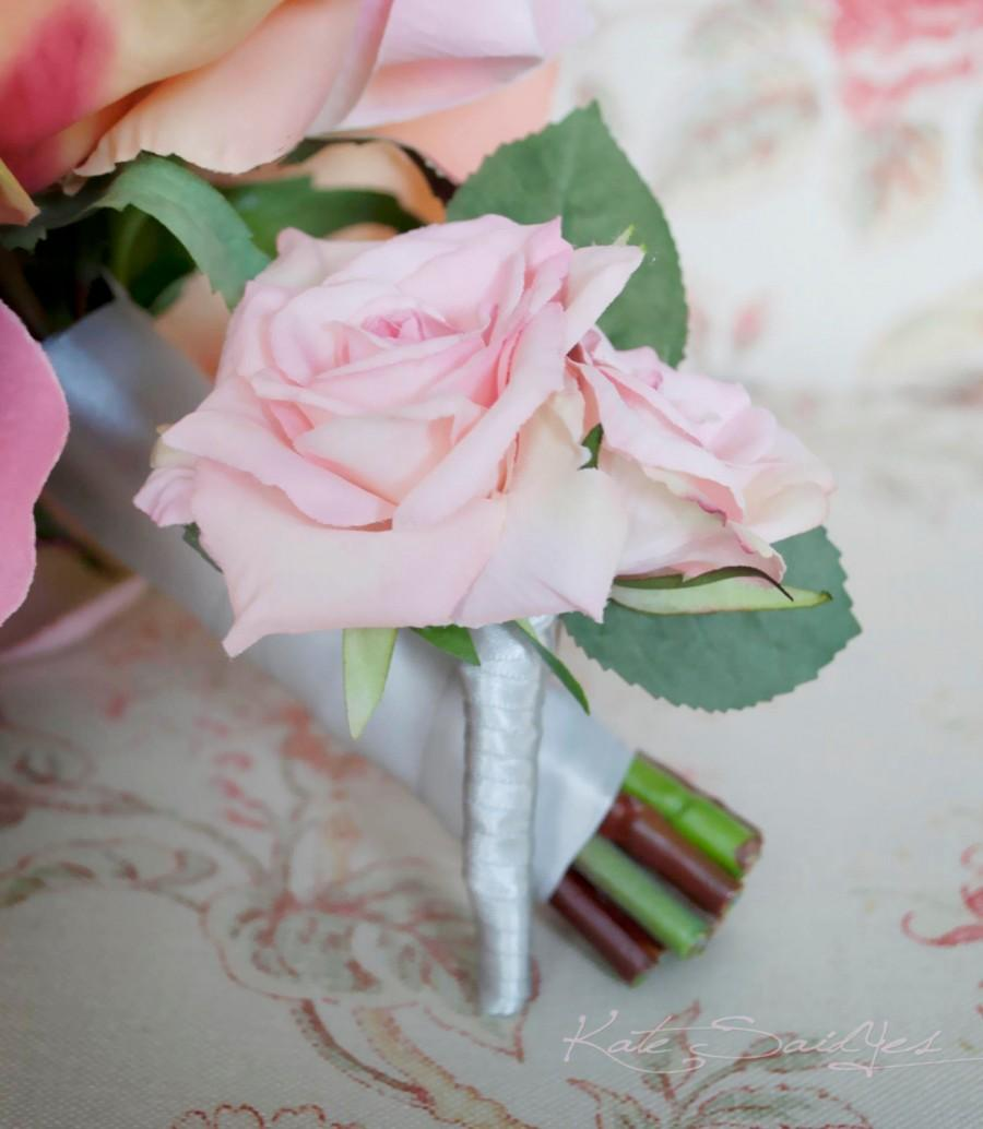 Свадьба - Wedding Boutonniere Pink Rose Wedding Boutonniere