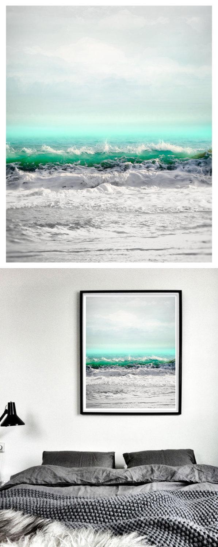 Mariage - Sea art print, Extra large wall art, seascape art, oversized Ocean photography, grey turquoise water, vertical coastal wall art,30x40, 40x50