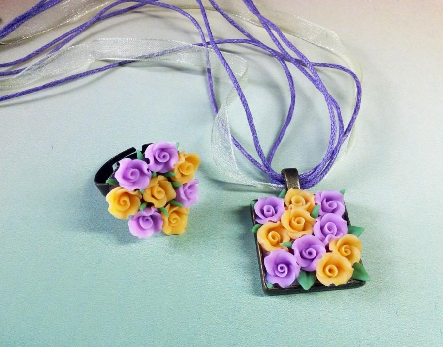 Polymer clay jewelry set pendant ring flower ring flower necklace polymer clay jewelry set pendant ring flower ring flower necklace pendant charm purple yellow rose pendant ring summer flower narure jewelry mozeypictures Image collections