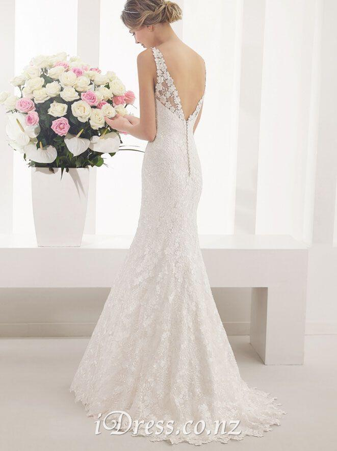 Open Back V Neck Elegant Lace Mermaid Sleeveless Wedding Dress