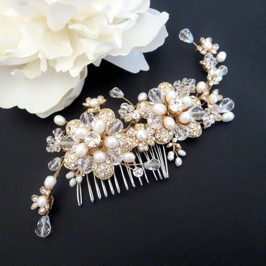 Wedding - Wedding headpiece, Bridal hair comb, Gold headpiece, Gold hair comb, Bridal hair vine, Rhinestone and pearl headpiece, Hair accessory
