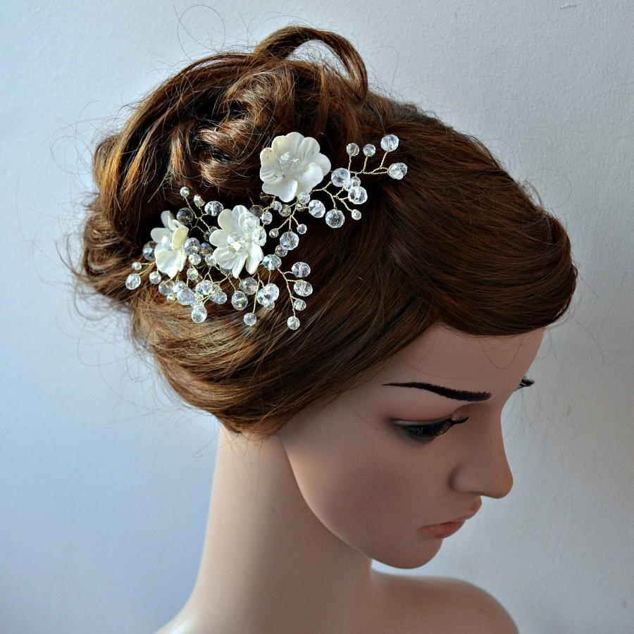 Bridal Hair Pins Jewellery Set Of 3 Crystal With Small Flower Weding Piece Bride Accessory Ivory White