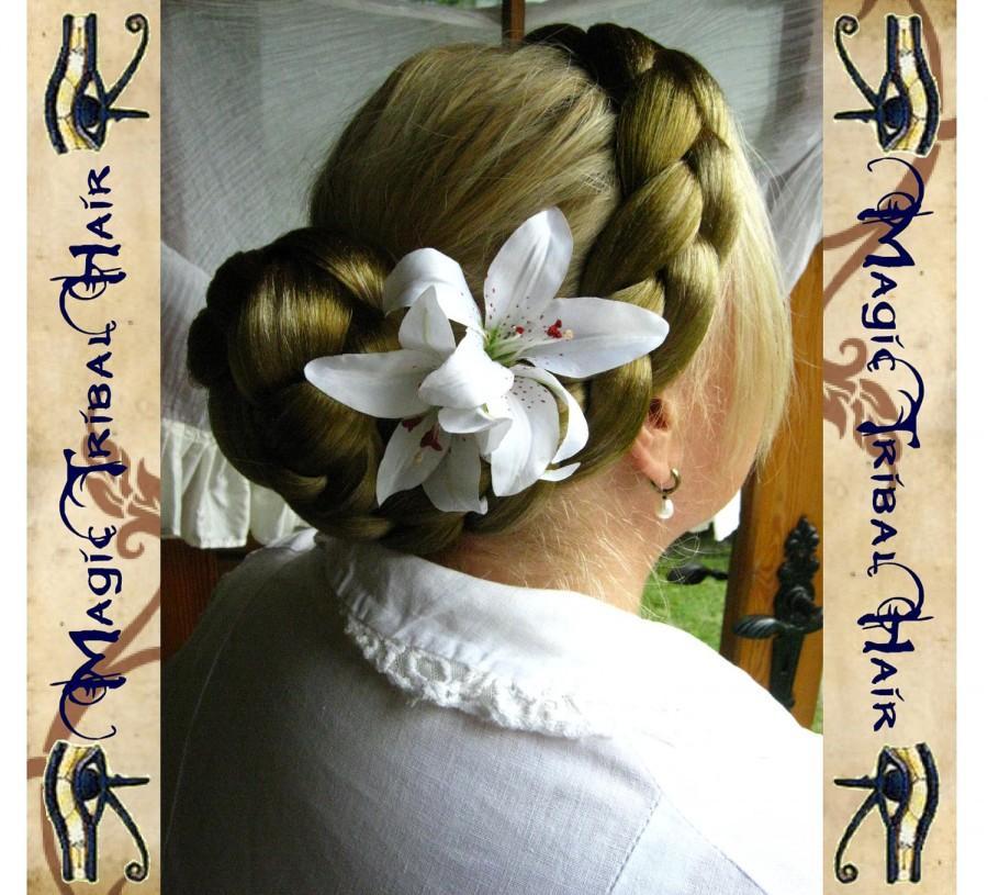 Hochzeit - LILY hair flower FASCINATOR  - 2 hair clips - Faery & Tribal Fusion hair jewelry Fantasy wedding accessory Hair Flowers Belly Dance