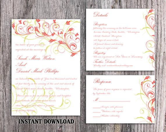 Wedding - DIY Wedding Invitation Template Set Editable Word File Download Printable Invitation Elegant Coral Invitations Green Floral Invitation