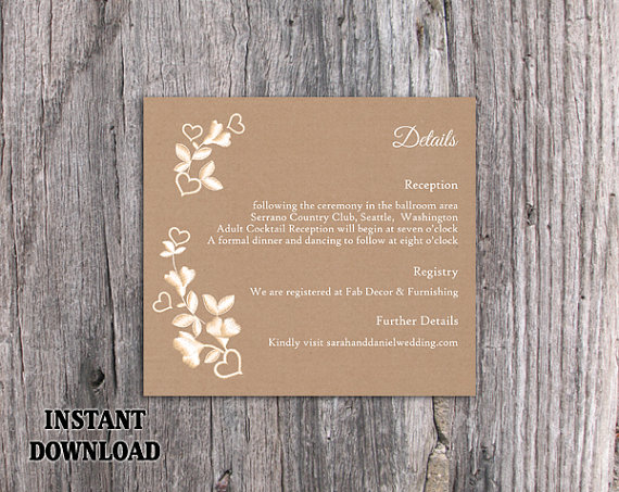Mariage - DIY Lace Wedding Details Card Template Editable Word File Download Printable Burlap Vintage Details Card Floral Rustic Enclosure Card