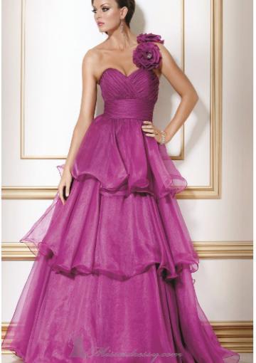 Wedding - One Shoulder Flowers Zipper Tulle Tiers Sleeveless Floor Length