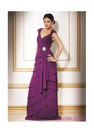 زفاف - V-neck Zipper Tiers Cap Sleeves Chiffon Purple Floor Length