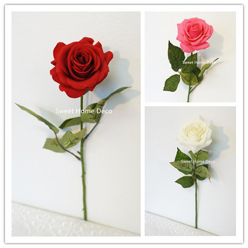 Mariage - JennysFlowerShop 17'' Real Touch Rose Artificial Single Spray