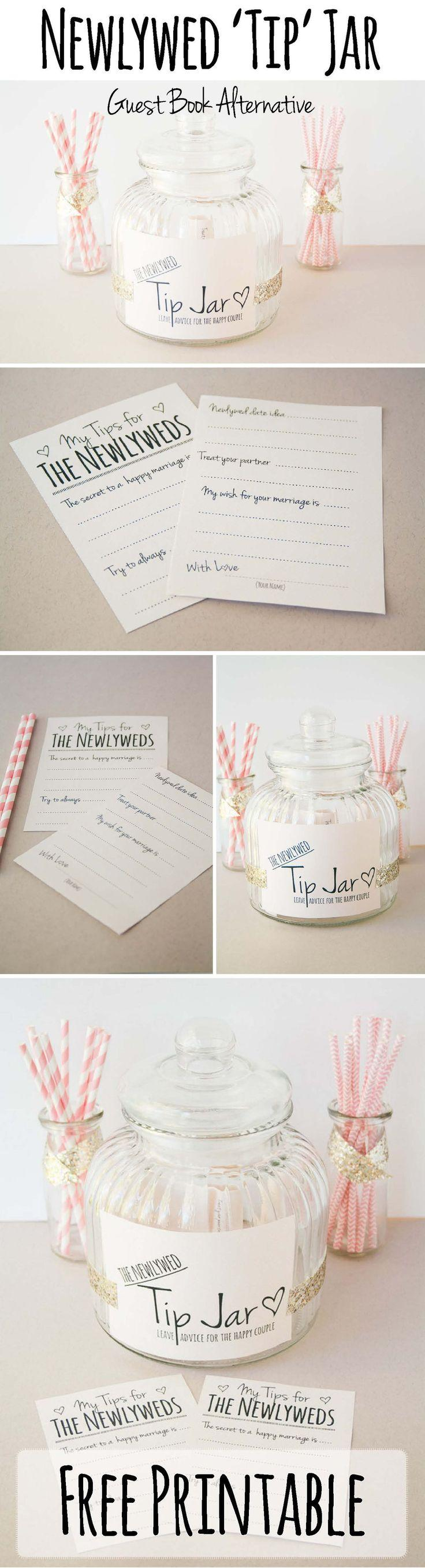 "Wedding - ""Leave Us A Tip"" Jar - FREE PRINTABLE Guestbook Alternative"