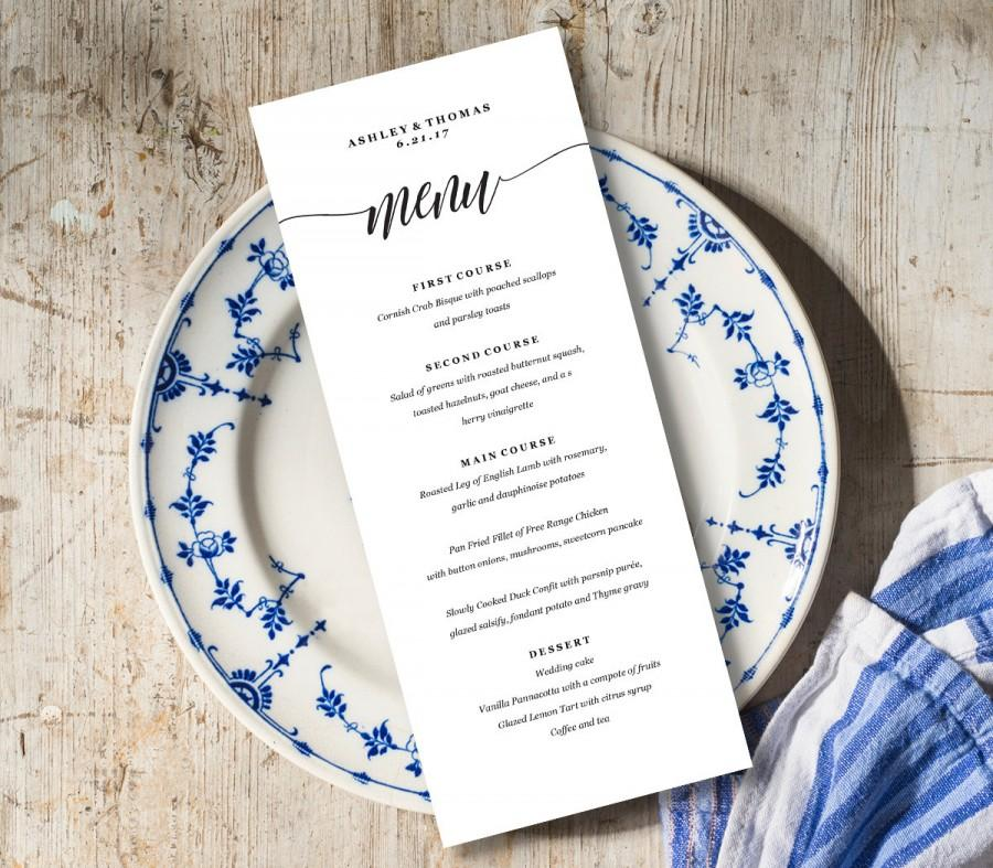 Menu Card Template, Rustic Dinner Menu, Wedding Menu Card Printable ...