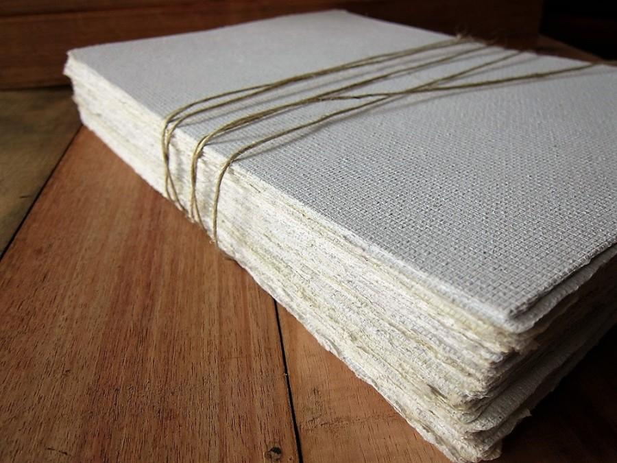"Mariage - White Handmade paper sheets, Recycled paper, Bookbinding paper,Eco friendly Writing paper,Invitation paper, 5 sheets 8.5"" x 12"" 21 x 30 cm"