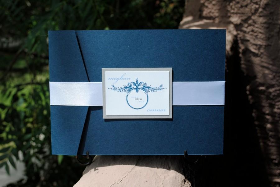 Wedding - 5x7 Navy Blue/Silver/White Wedding Invitation