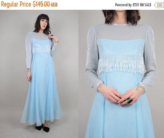 395e0980286 SUMMER SALE JACK Bryan vtg 60 s maxi Dress sheer Beaded Flapper fringe silk  illusion Mesh