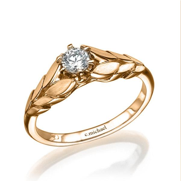 14k Rose Gold Ring Engagement Ring Diamond Solitaire Ring
