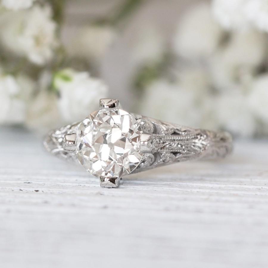 زفاف - Art Deco Old European Cut Round Diamond Engagement Ring (1.25 carat I VS2) - Vintage Inspired Edwardian Solitaire