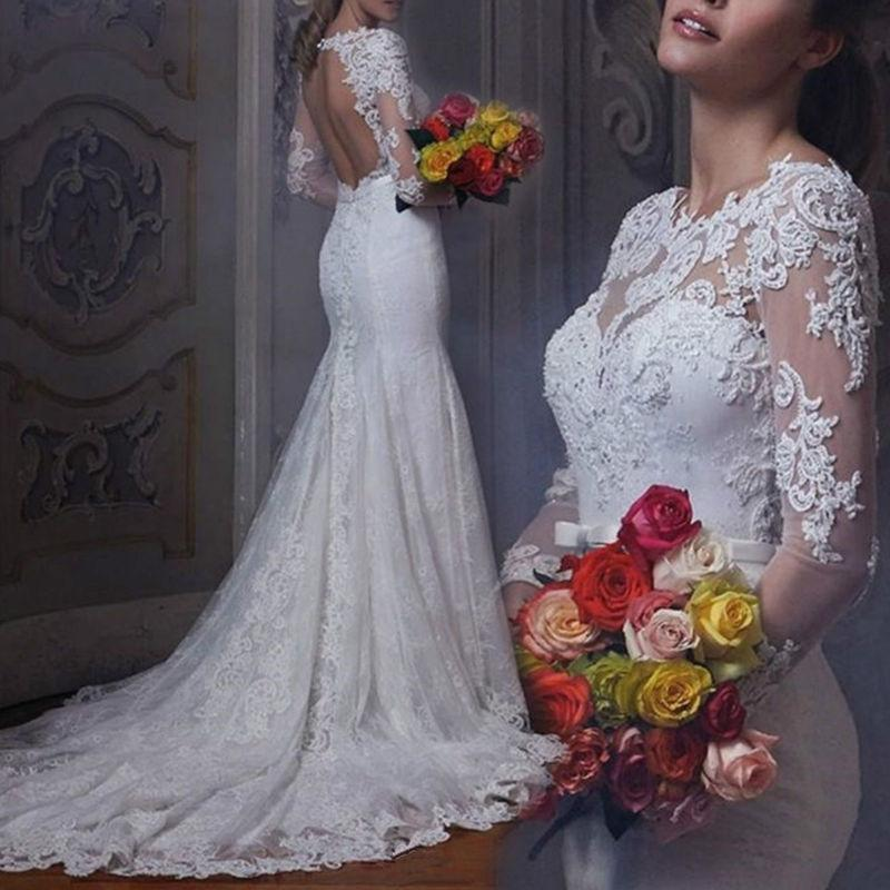 Свадьба - NEW White/Ivory Lace Wedding Dress Bridal Gown Custom Size 4 6 8 10 12 14 16 18+