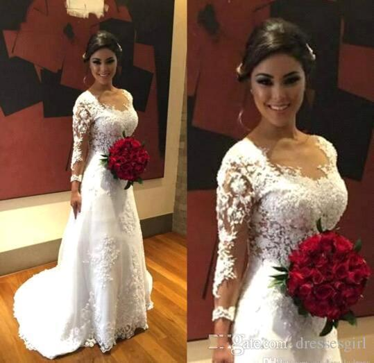 Mariage - Long Sleeve Lace White/Ivory Wedding Bridal Gown Dress Custom Size New 2016 Sexy