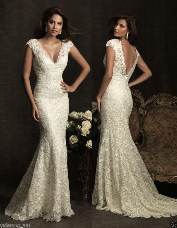 Mariage - Mermaid White/Ivory Lace Wedding Dress Bridal Gown custom Size 6 8 10 12 14 16++