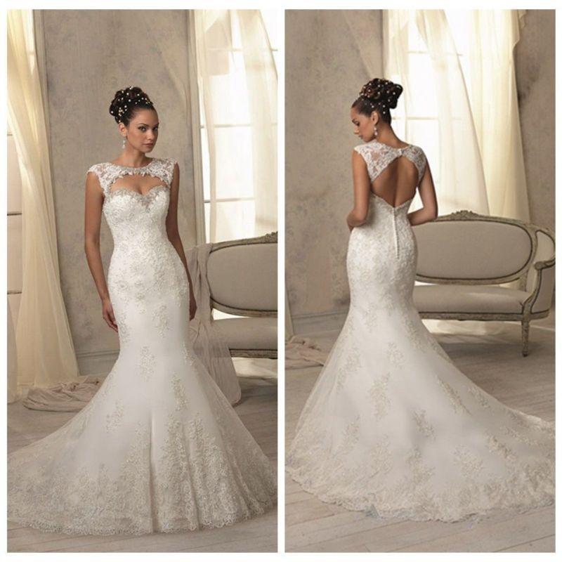 Mariage - 2015 Mermaid White Ivory Wedding Dresses Bridal Gown Size 4 6 8 10 12 14 16 18++