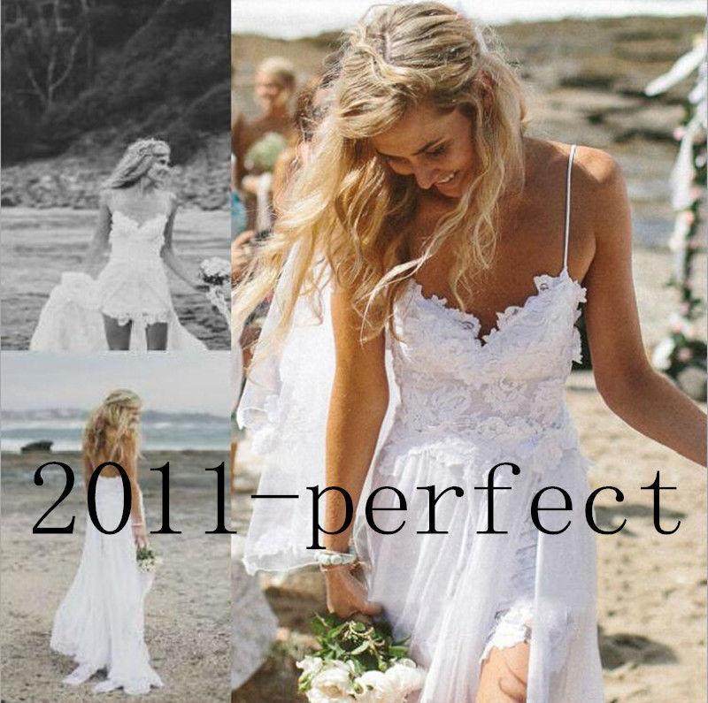 Mariage - Stock Beach Wedding Dress Spaghetti Lace Chiffon Bridal Gown Size 4 6 8 10 12 14