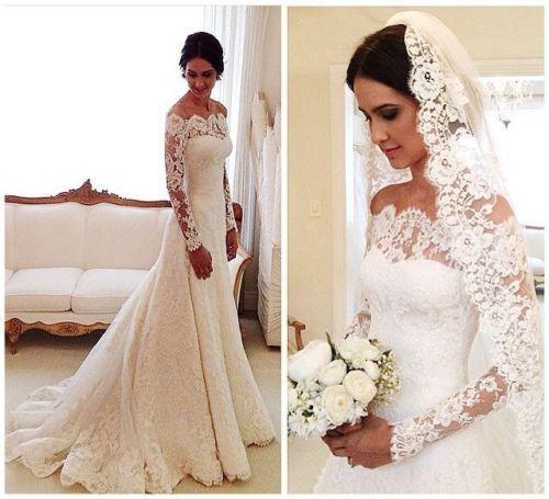 Mariage - Vintage Long Sleeve Lace Ivory White Wedding Bridal Gown Dress Custom Size 2-16