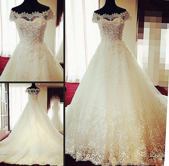 Mariage - Lace White Ivory Wedding Dress Bridal Gown Custom Size 6/8/10/12/14/16/18/20+