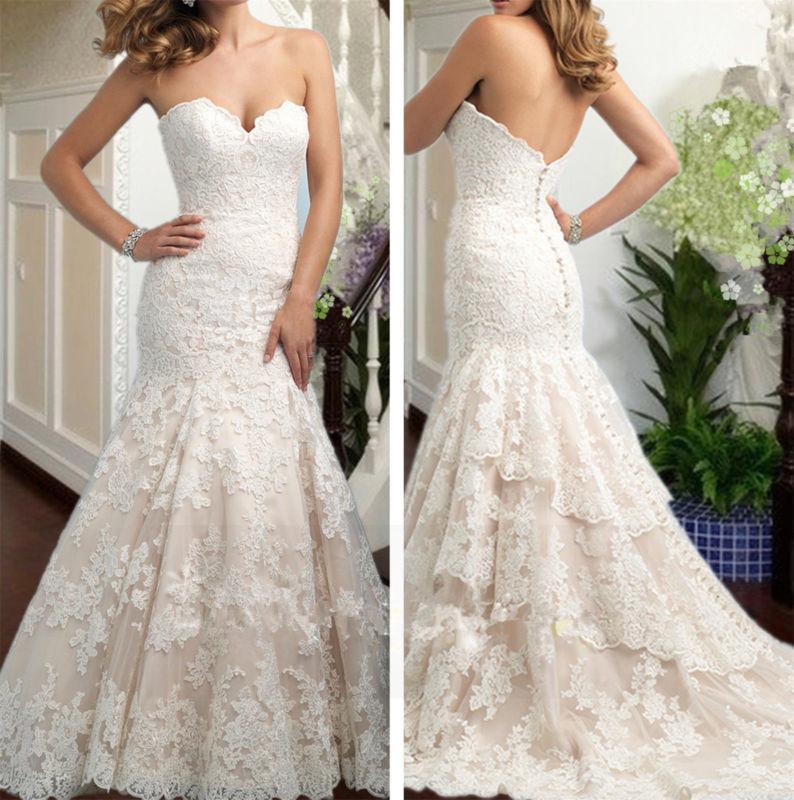 Mariage - New White/ivory Mermaid Wedding dress Bridal Gown custom size 4 6-8-10-12-14-16