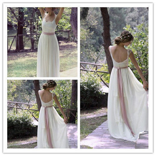 Hochzeit - Backless Sheath Chiffon Wedding Dress Bridal Gown Custom Size 4 6 8 10 12