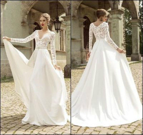 Long Sleeve Lace Wedding Dress Bridal Gown Custom Size 4 6 8 10 12 14 16 18
