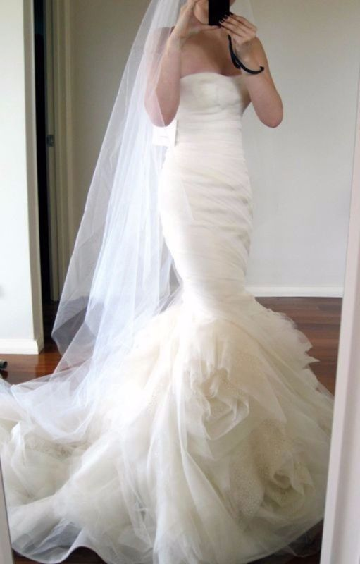 Mariage - White Ivory Mermaid Wedding Dress Bridal Gown Custom Size 4 6 8 10 12 14 16 18+