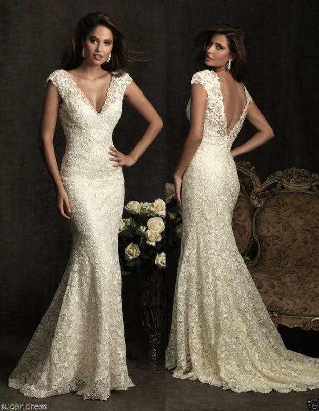Mariage - White/Ivory Lace Wedding Dress Mermaid Bridal Gown custom Size 6 8 10 12 14 16+