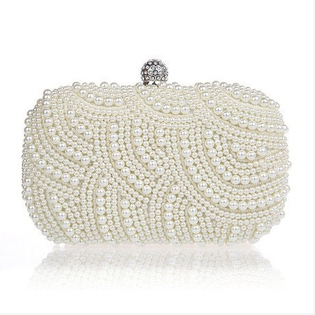 Ivory Gold Pearl Clutch Bag Evening Bridal Wedding
