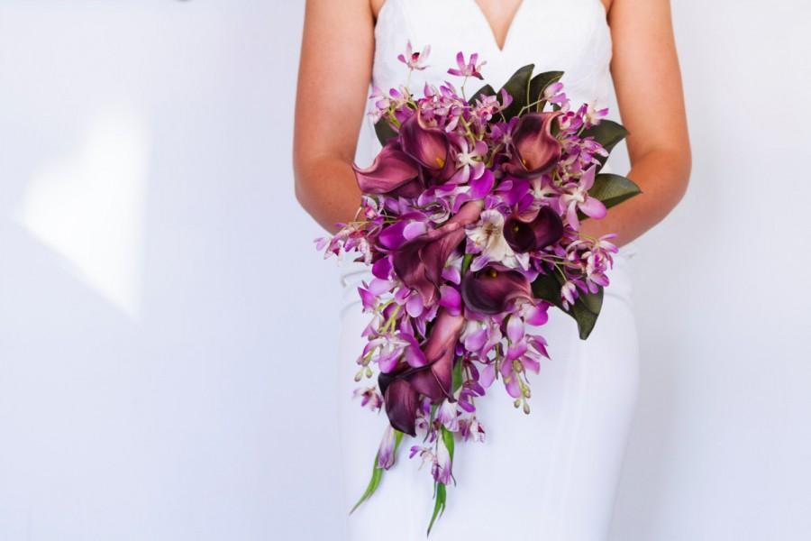 Bridal Bouquet, Wedding Bouquet, Cascading Bouquet, Purple Bouquet ...