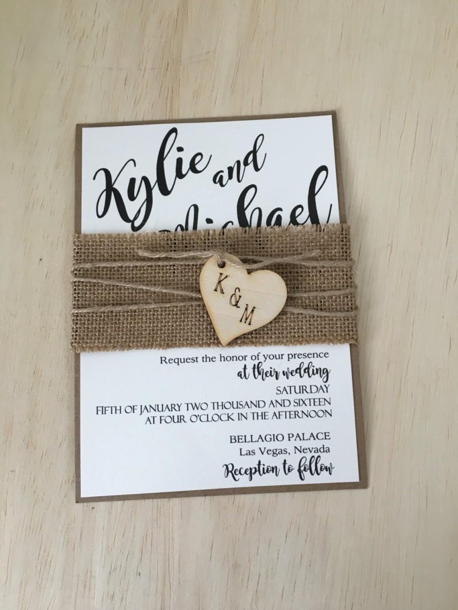 Mariage - Rustic wedding invitation, burlap wedding invitation, country invitation, kraft invitation, rustic burlap invitation, wood invitation