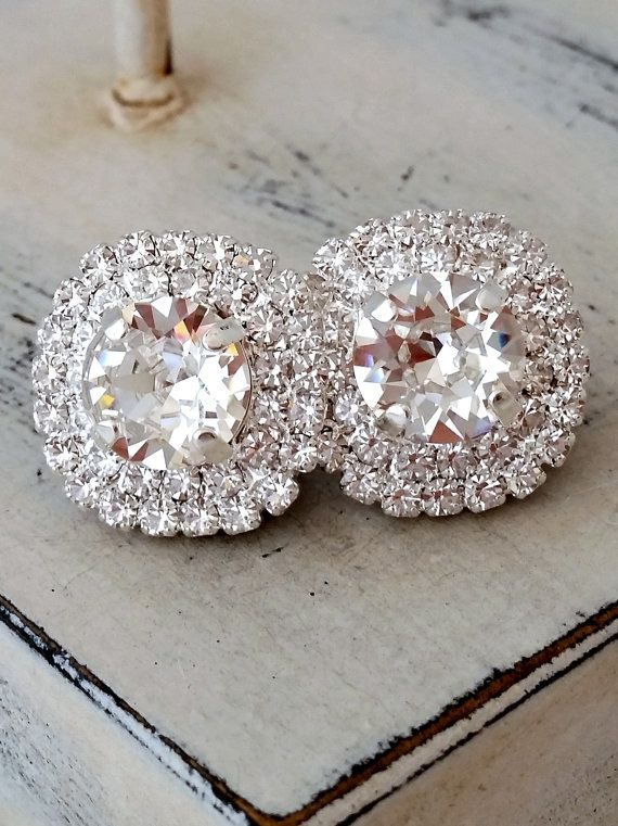 Clear Crystal Earrings Silver Bridal Large Stud Bridesmaid Gift Wedding Swarovski Halo Gold