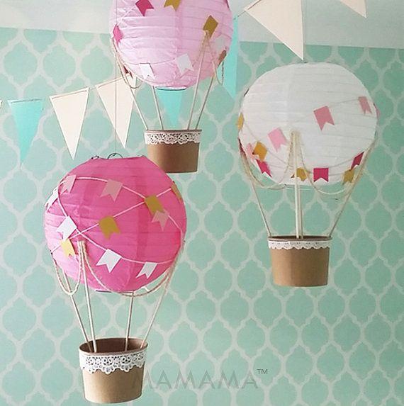 Whimsical hot air balloon decoration diy kit hot pink for Balloon decoration kit
