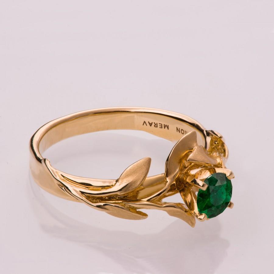زفاف - Leaves Engagement Ring No.4 - 14K Gold and Emerald engagement ring, engagement ring, leaf ring, filigree, antique, art nouveau, vintage