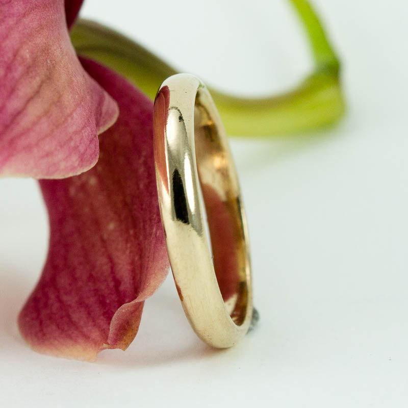 Mariage - Gold Wedding Band -  3mm Yellow Gold Ring - Classic Half Round 14k Wedding Band