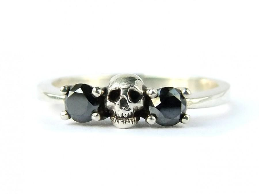 white gold ring skull wedding set black diamond white sapphire white gold engagement ring goth psychobilly wedding band jewel ring all sizes - Skull Wedding Ring Sets