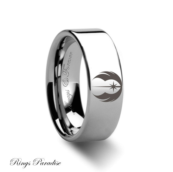Mens Tungsten Ring Order Symbol Star Wars Ring Tungsten Engraved