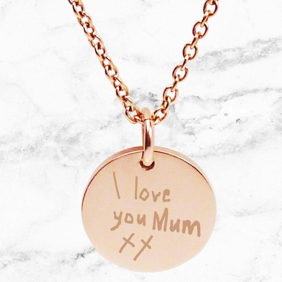 زفاف - Engraved ROSE GOLD pendant necklace for Mum with a a handwritten note - Perfect personalized gift for Mother's Day, custom engraving