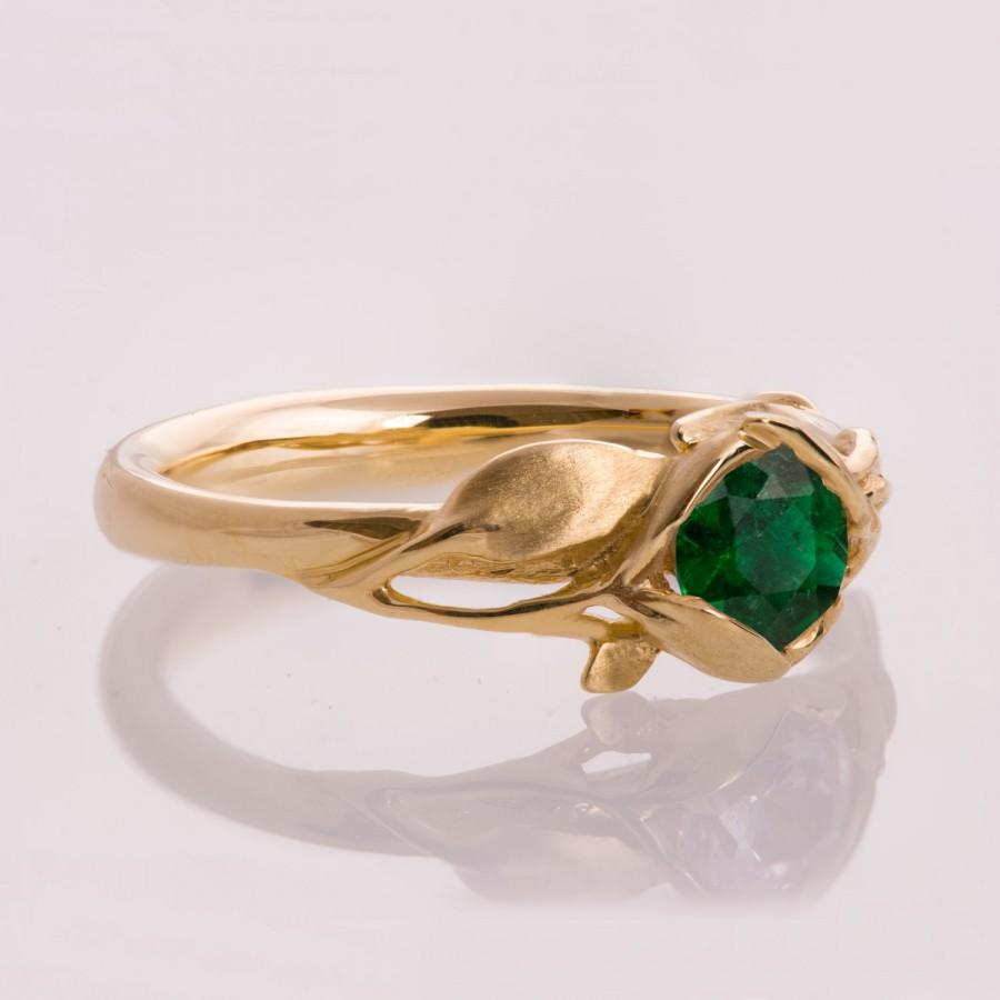 زفاف - Leaves Engagement Ring - 14K Gold and Emerald engagement ring, engagement ring, leaf ring, filigree, antique, art nouveau, vintage, 6