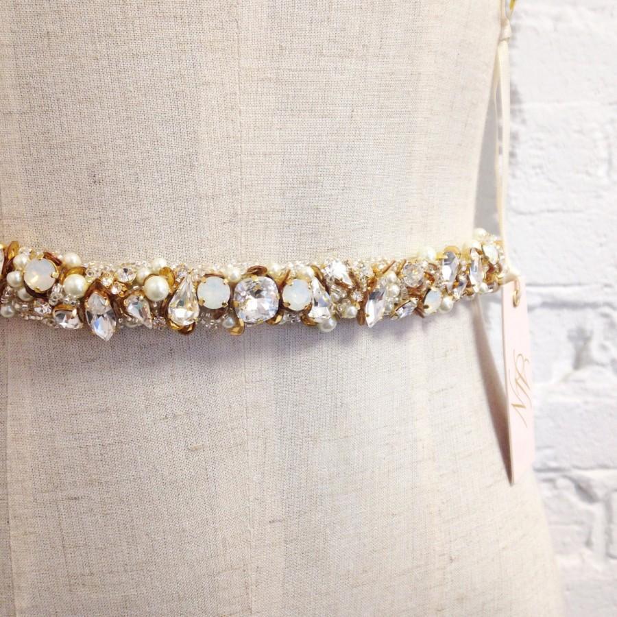 Hochzeit - Crystal and Opal Bridal Belt- Narrow Bridal Belt- Swarovski Crystal Bridal Sash- Gold Bridal Sash