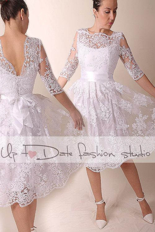 Lace Short Wedding Dress Open Back Reception Bridal Gown 3 4 Sleeve