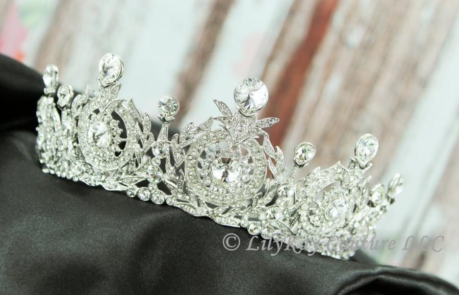 Mariage - Full Bridal Crown Bridal Tiara Crystal Wedding Crown Swarovski Wedding Tiara Diamante Crown Quinceanera Tiara de la boda Diamante Diadema