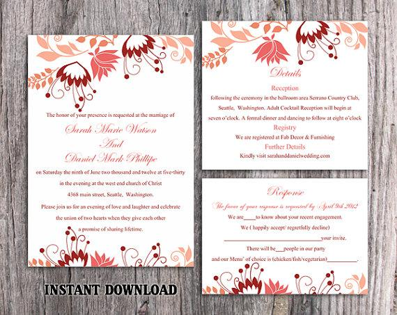 Wedding - DIY Wedding Invitation Template Set Editable Word File Instant Download Printable Peach Wedding Invitation Elegant Coral Floral Invitations