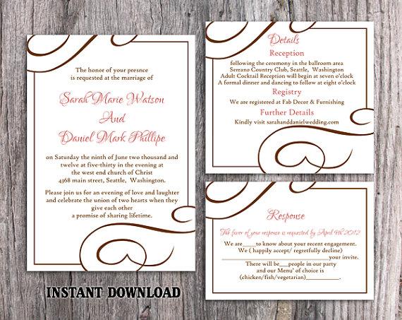 Hochzeit - DIY Wedding Invitation Template Set Editable Word File Instant Download Elegant Printable Invitation Pink Wedding Invitation Pink Invitation