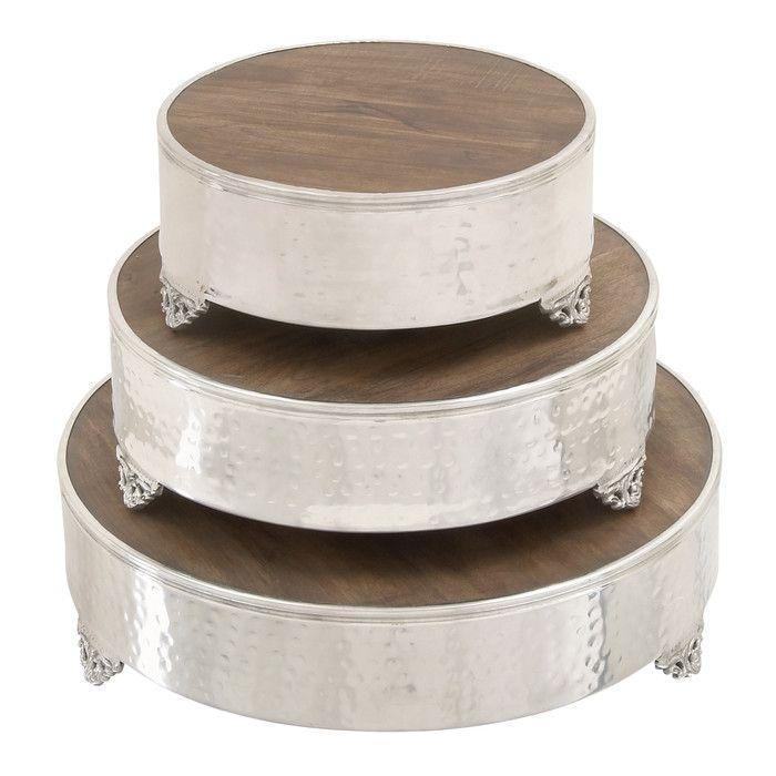 Mariage - Woodland Imports 3 Piece Grand Cake Stand Set